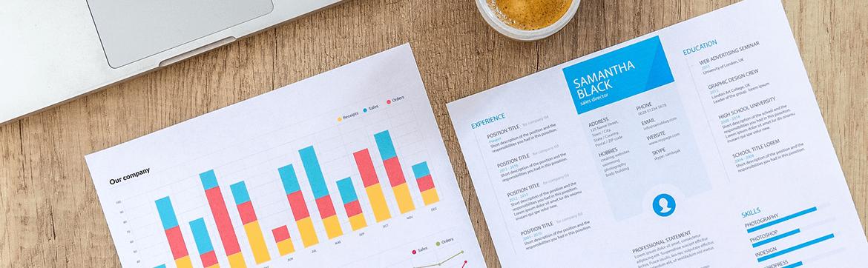 разноцветные графики и белая бумага, документы eurostudy