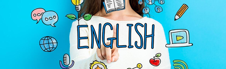 Английский язык в Праге, написано english на голубом фоне и вокруг карандаши, планеты и кактусы летают
